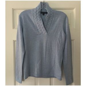 Brooks Brothers Wool V Neck Sweater Blue S Small